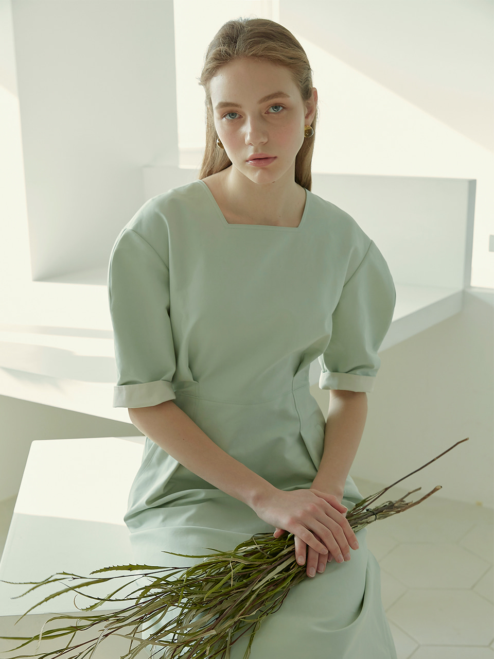 HEATHER_Volume Sleeved Midi Dress_Mint