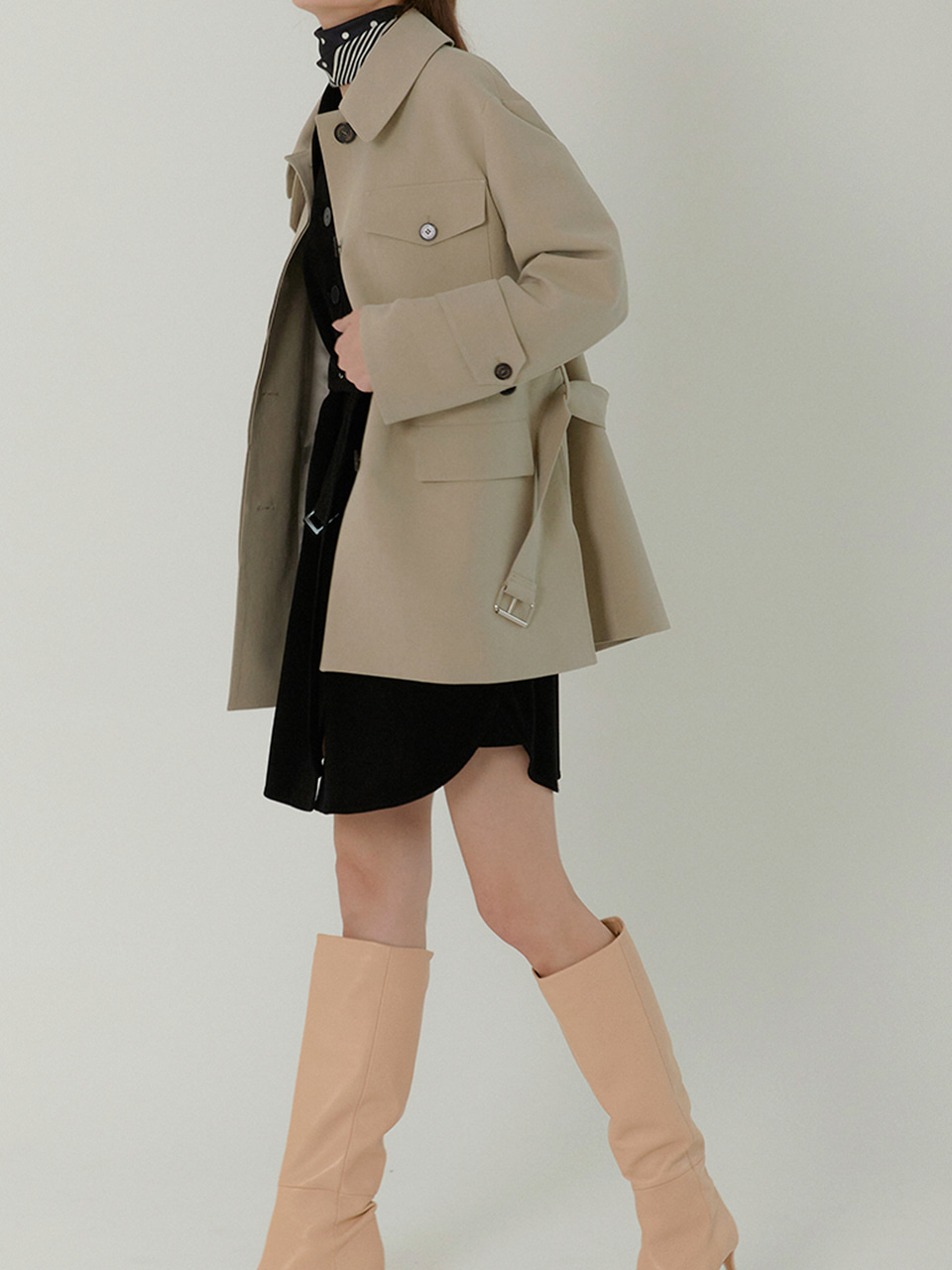 MELBA Half Length Belted Trench Coat_DUST OLIVE