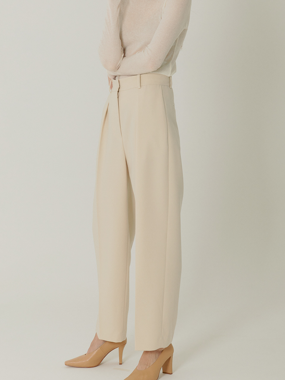 [Low in Stock]MARC High Rised Slouch Slacks_ECRU