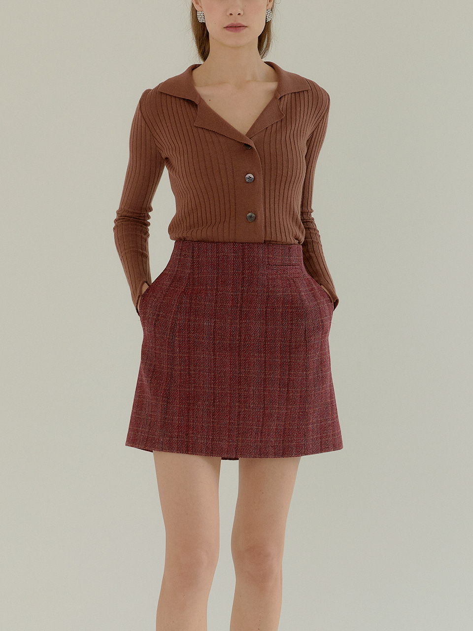 JEANNE_High Waisted Jacquard Mini Skirt_BRICK RED