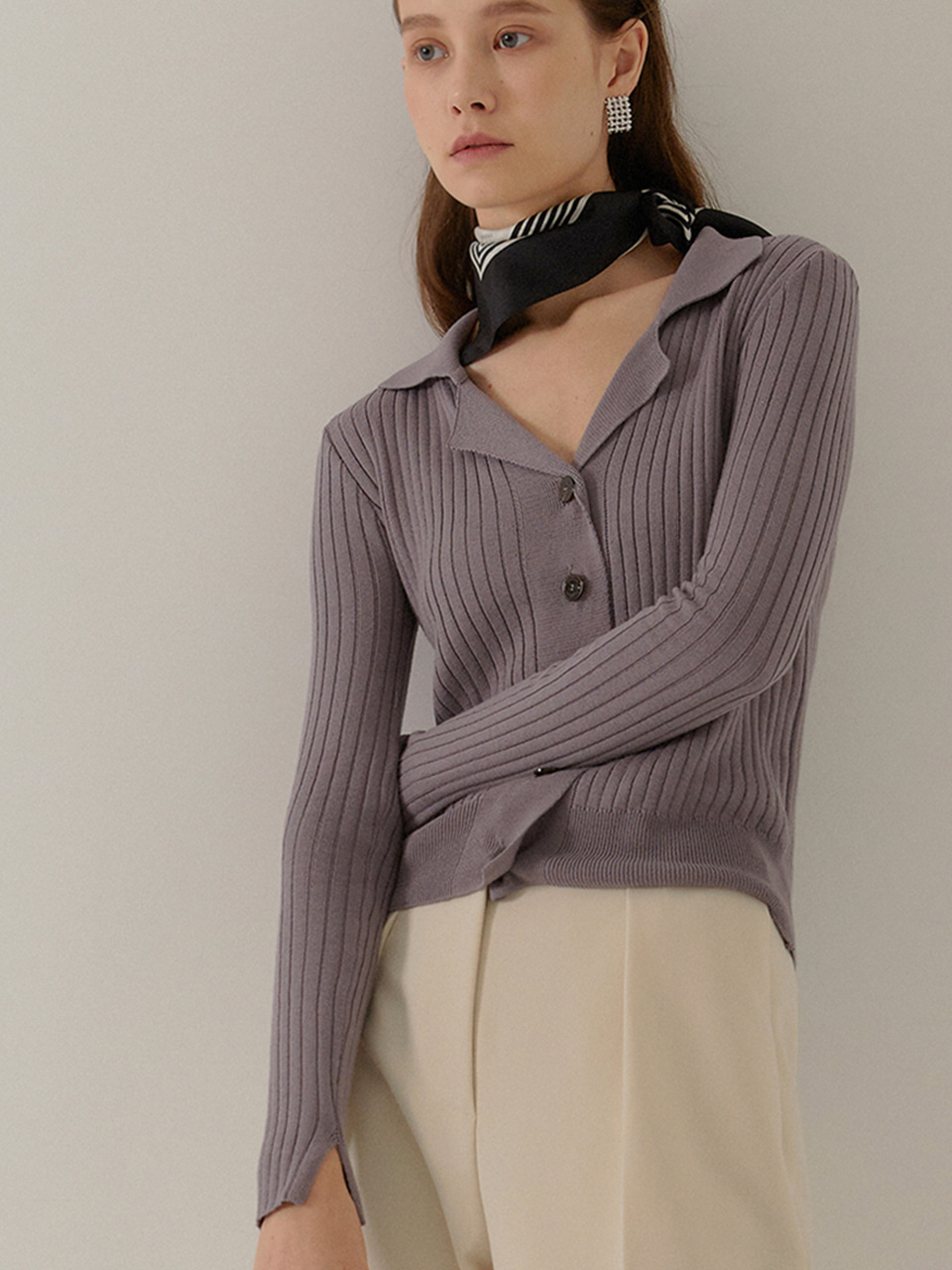 [9/23부터 순차배송]GRETA Slim Fit Ribbed Cardigan_MAUVE VIOLET