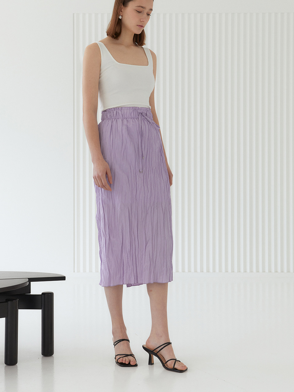ANNA_Pleated H-line Midi Skirt_Lavender
