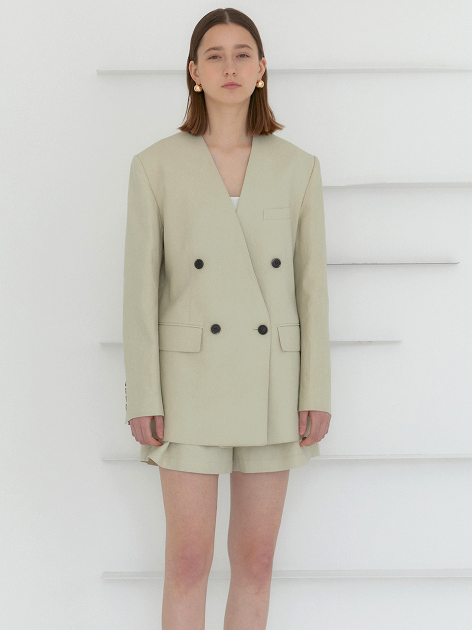 DANNY_Collarless Double Breast Semi Over-Fit Jacket_Light Olive Beige