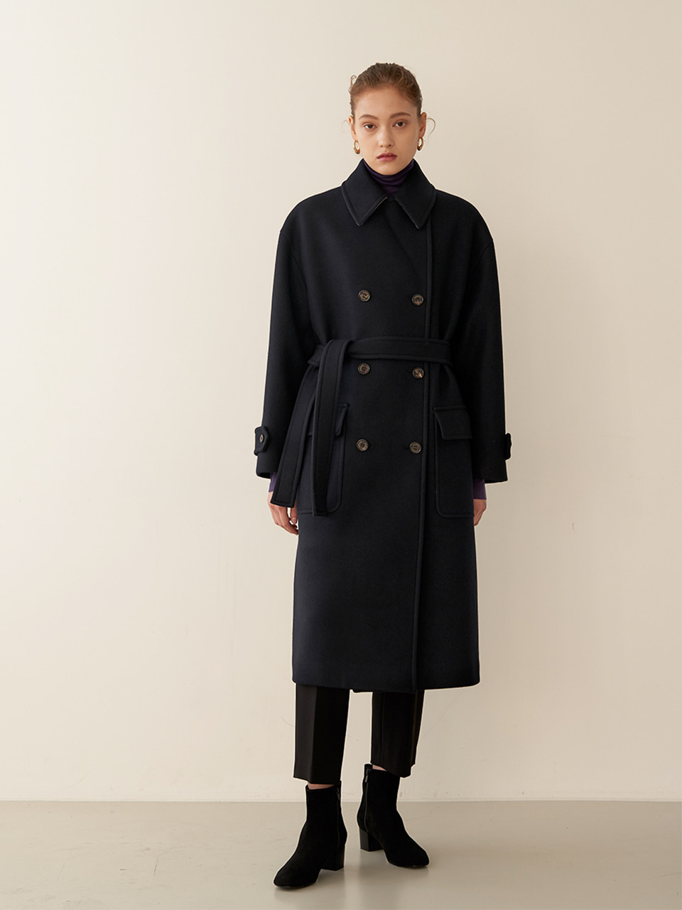 [재입고]ANETA Double Breast Oversized Coat_Navy
