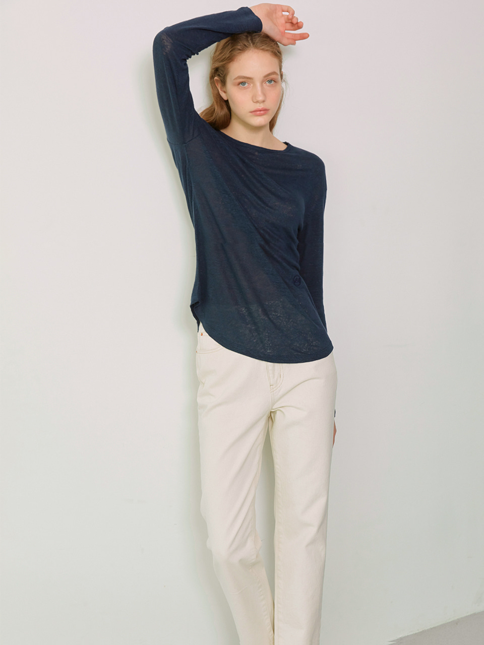 SIA_Linen Long Sleeved T-Shirt_Navy
