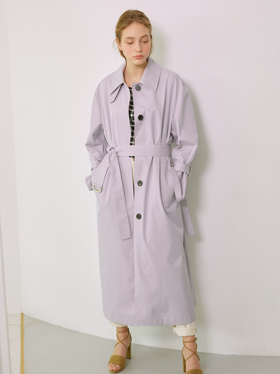 MIA_Single Breasted Long Trench Coat_Lavender