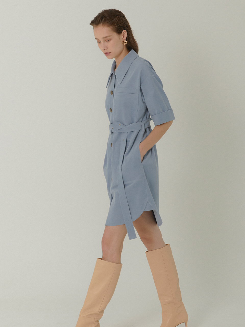 LAUREN Belted Coduroy Shirts Dress_SKY BLUE