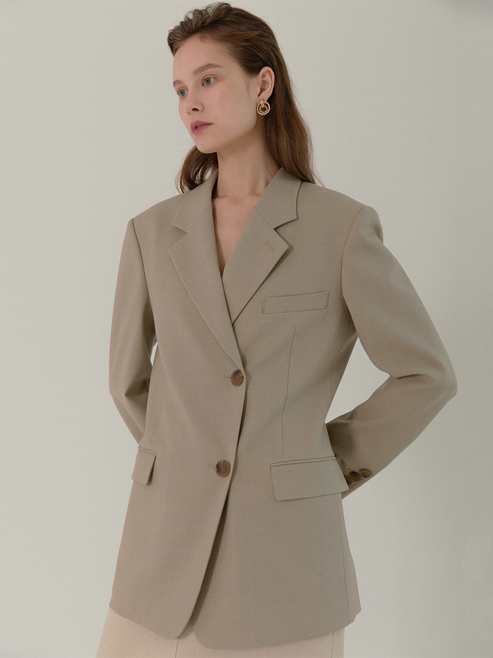 [Low in stock]AMBER Classic Tailored Half Double Jacket_SAND BEIGE