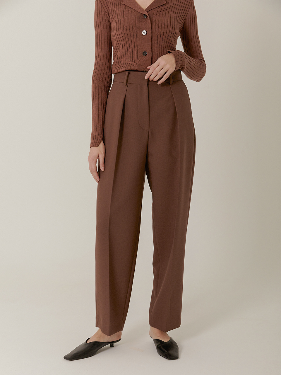 [Low in Stock]MARC High Rised Slouch Slacks_RUST BROWN