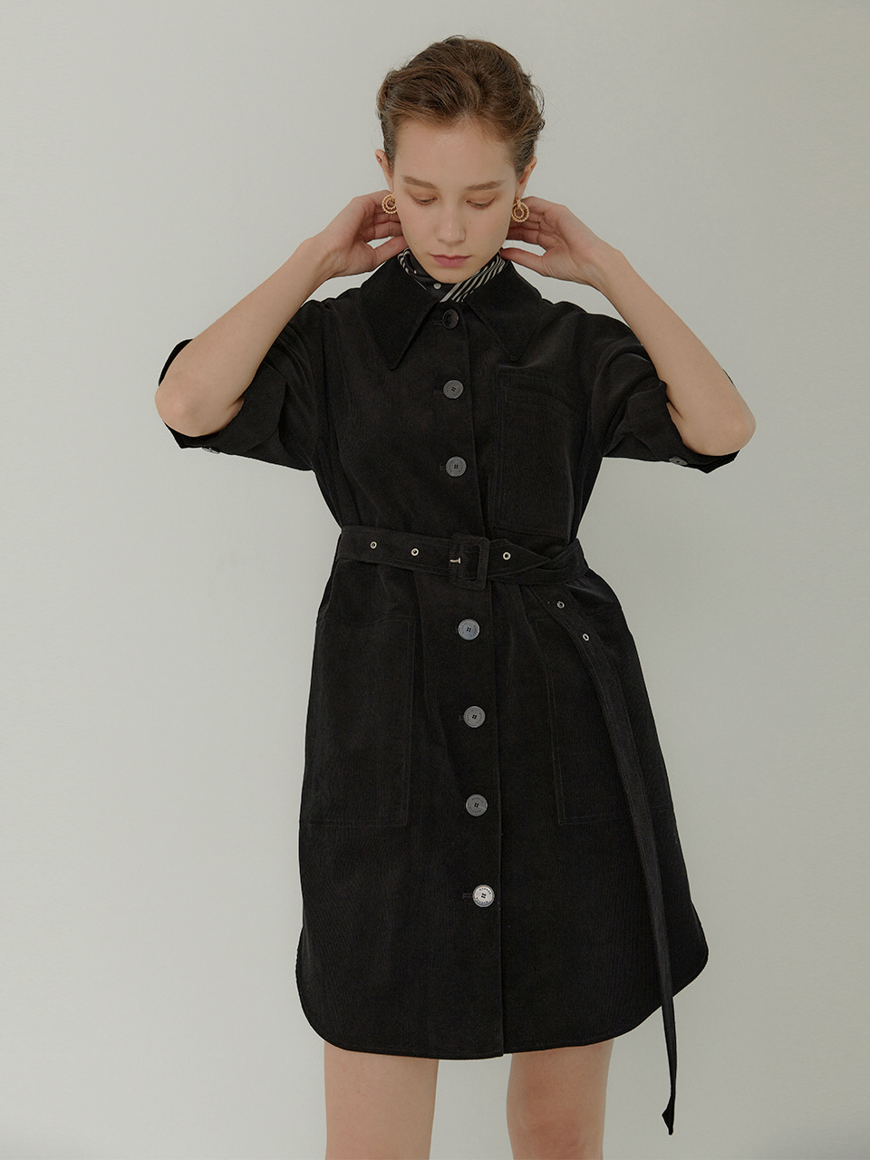 Lauren Belted Coduroy Shirts Dress_BLACK