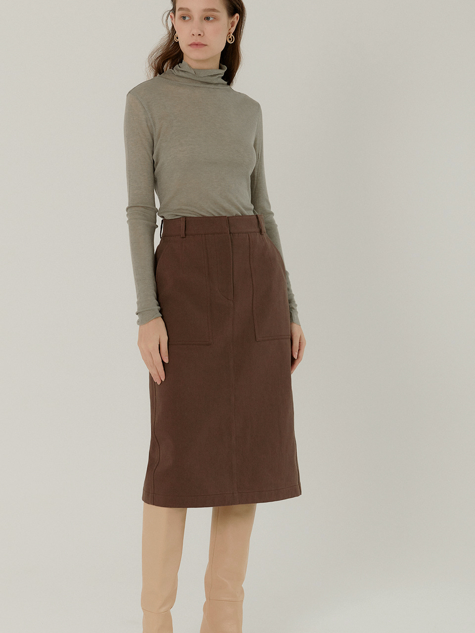 JESS_Cotton Twill Straight Midi Skirt_MOCHA BROWN