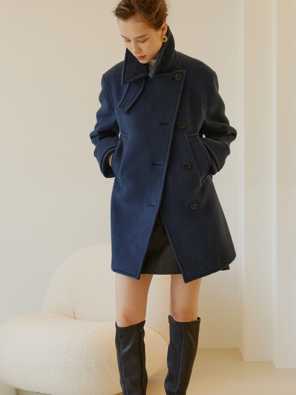 [Low in stock] MAYA Double Breast Half Pea Coat_Midnight Blue