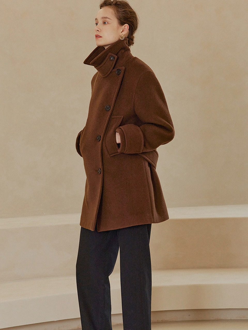 MAYA Double Breast Half Pea Coat_Cocoa Brown