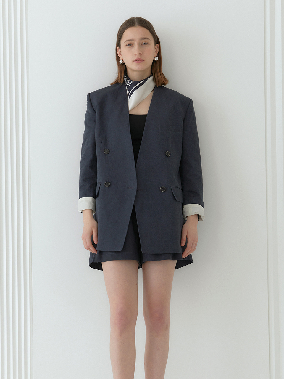 DANNY_Collarless Double Breast Semi Over-Fit Jacket_Navy