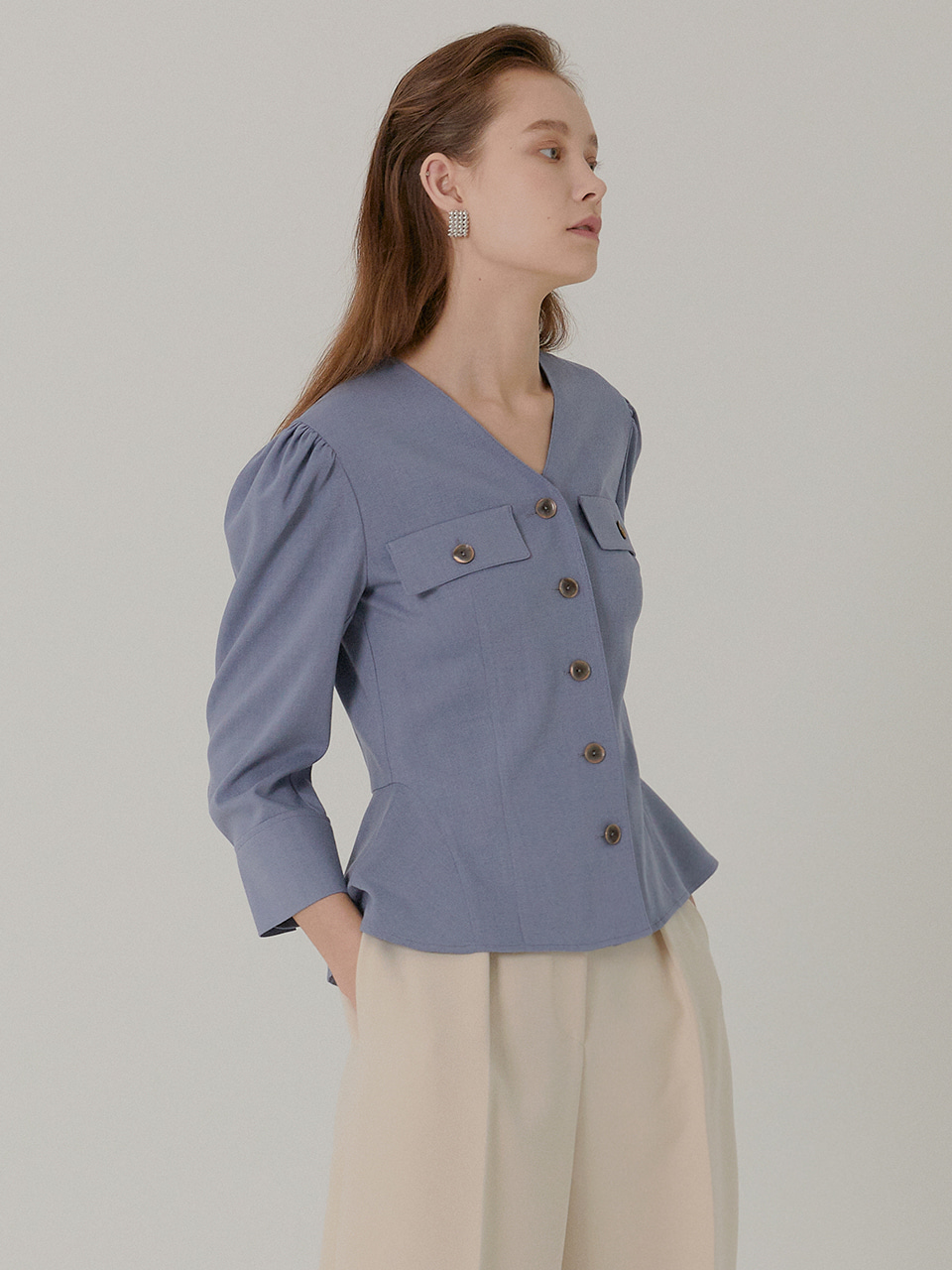 IRIS Collaress Peplum Blouse_VIOLET